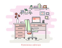 Feminine workplace room interior Royalty Free Stock Photo