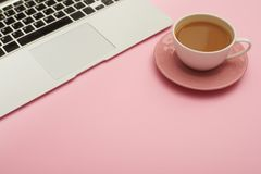 Free Feminine Workplace With Laptop And Cup Of Coffee Stock Image - 122241531
