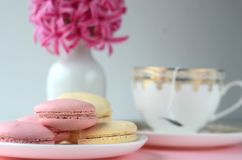 Pink hyacinth, gold white porcelain tea cup and French macarons on pink background. Feminine workspace desktop with copy space. Spring and coffee break theme stock photography