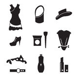 Feminine world of shopping icons. Black and white ladies icons for web, print Stock Images