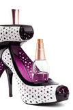 Femininity accessories. Perfumes and Shoes.  Femininity accessories on a white background Stock Photography