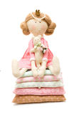 Femininity concept - Doll princess. On white background royalty free stock photos