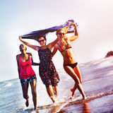 Femininity Girls Summer Beach Vacations Concept Stock Images