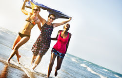 Femininity Girls Summer Beach Vacations Concept Stock Photos