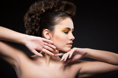 Femininity. Muse. Profile of Young Woman with Clean Healthy Skin Stock Images