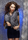 Femininity and Sensuality. Gorgeous Sophisticated Lady in Fur Vest. Pretty Rich Woman in Fur Vest posing Stock Photography