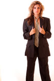 Feminism. Young woman in office suit isolated on white Stock Photos