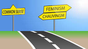 Feminism and chauvinism. Illustration of heading for feminism and chauvinism or just use common sense Royalty Free Stock Photos