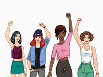 Feminism concept. Different young modern girls with hands up. Colorful illustration. Royalty Free Stock Photography