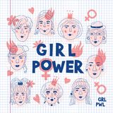 Feminism poster Girl power card, Feminists. Women`s faces icons on a sheet of exercise book, Informal girls, Punk rock. Women. Creative hand-drawn characters stock illustration