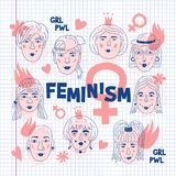 Feminism poster, Women`s faces icons on a sheet of exercise book, Feminists Informal girls, Punk rock women. Creative. Hand-drawn characters. Vector Art royalty free illustration