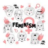 Feminism poster, Women`s faces, Informal girls, Punk rock women Feminists. Cute Funny hand-drawn characters. Vector. Art illustration vector illustration