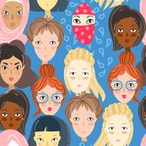 Feminism. Seamless pattern with women portraits. Different relig. Ion and nationality girls. Vector illustration stock illustration