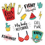 Feminism slogan and patches. Vector 80s style design. Vintage pop stickers and badges. My body, my choice. Fries before. Guys, fight like a girl. Girl power Stock Photography
