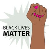 Black lives matter. Fighting fist of a woman. Feminism symbol. Fighting fist of a woman. Lovely vector illustration. Fight for the rights and equality Royalty Free Stock Photos