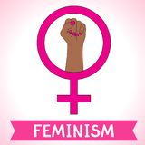 Feminism symbol. Fighting fist of a woman. Lovely vector illustration. Fight for the rights and equality Stock Image