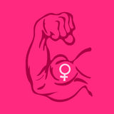 Feminism. Vector cartoon illustration of Biceps with symbol of female gender on magenta background. Metaphor of feminism and strong feminist women vector illustration
