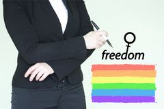 Feminism wofeminism woman concept. Feminism woman concept. photo for your design. rainbow flag Stock Photo