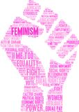Feminism Word Cloud. Feminism Women`s Rights word cloud on a white background Royalty Free Stock Images