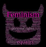 Feminism Word Cloud. On a black background Royalty Free Stock Image