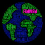 Feminism Word Cloud. On a black background Stock Photos