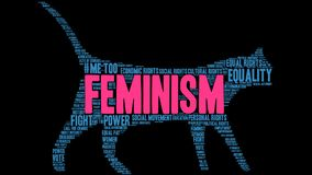 Feminism Word Cloud. On a black background Stock Photography