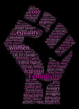 Feminism Word Cloud. On a black background Stock Images