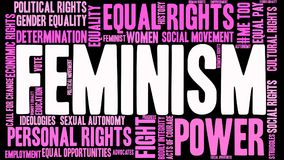 Feminism Word Cloud. On a black background Royalty Free Stock Photography