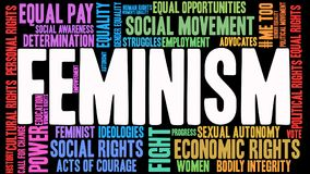 Feminism Word Cloud. On a black background Royalty Free Stock Photo