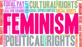 Feminism Word Cloud. On a white background Royalty Free Stock Photo