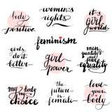Feminismcitationsteckenuppsättning Handskrivet modernt stock illustrationer