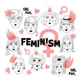 Feminismeaffiche, Vrouwen` s gezichten, Informele meisjes, de Feministes van Punk rockvrouwen Leuke Grappige hand-drawn karakters vector illustratie