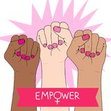 Feminismsymbol Stridighetnäve av en kvinna Vektor Illustrationer