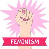 Feminismsymbol Stridighetnäve av en kvinna Stock Illustrationer