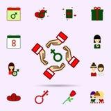Feminismus, Hand, Frauensymbol, Gruppenfarbikone Universalsatz vom 8. M?rz f?r Websiteentwurf und Entwicklung, Appentwicklung lizenzfreie abbildung