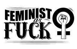 Feminist as fuck fancy type with upraised fist poste Stock Images