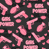 Feminist background. Girl power. Love. Dangerous seamless pattern with gun, pomegranate, lips and hearts. Feminist background. Girl power. Love Royalty Free Stock Image