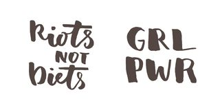 Feminist lettering quotes. Feminist quotes set. Riots not diets, girl rower. Modern brush calligraphy. Graphic design element. Can be used as print for poster, t Royalty Free Stock Image