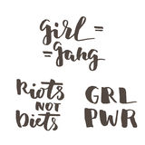 Feminist lettering quotes set. Feminist quotes set. Riots not diets, girl gang, girl rower. Modern brush calligraphy. Graphic design element. Can be used as Royalty Free Stock Photos