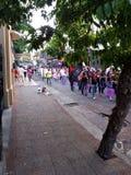Feminist March. In the center of Asunción city Stock Photos