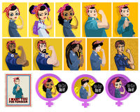 Feminist posters. Feminist woman and man holding her arm posters pack vintage Royalty Free Stock Image