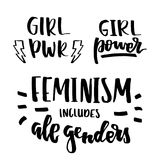 Feminist quotes lettering set. Set of feminist slogans and cartoon comic stickers. Hand drawn brush ink lettering GRL PWR, Girl Power, Feminism includes all Stock Photo