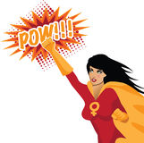 Feminist superwoman punching with POW! Stock Image