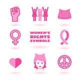 Feminist symbols set. Promoting women`s rights Royalty Free Stock Photography