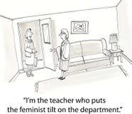 Feminist tilt. Feminist teacher meets a new teacher Royalty Free Stock Photo