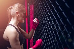 Girl athlete Boxing MMA stock images