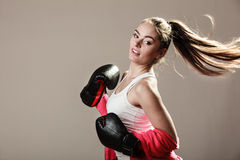Feminist woman training, boxing. Royalty Free Stock Images