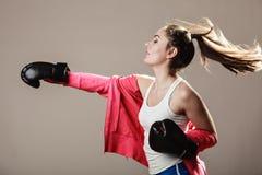 Feminist woman training, boxing. Stock Photo