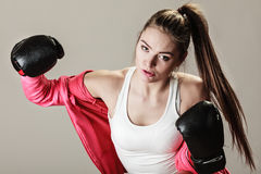 Feminist woman training, boxing. Stock Photos