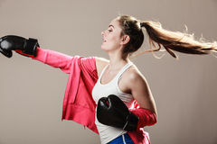 Feminist woman training, boxing. Stock Photography